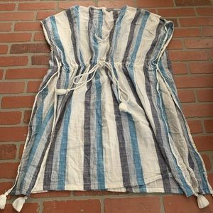 Aerie Blue Striped Bathing Suit Cover Up Tunic W3